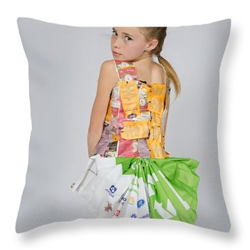 Irene In Tea Bags Shirt And Banners Skirt Throw Pillow