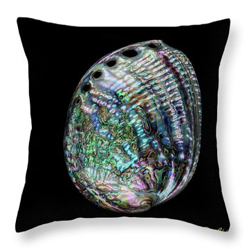 Throw Pillow featuring the photograph Iridescence On The Half-shell by Rikk Flohr