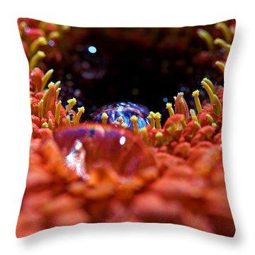 Iridescent Water Drops Throw Pillow by Lisa Knechtel