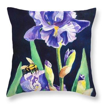 Iris And Bees Throw Pillow