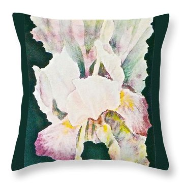 Throw Pillow featuring the painting Iris And Buds by Carolyn Rosenberger