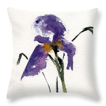 Throw Pillow featuring the painting Iris  by Anne Duke