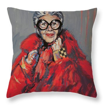 Iris Apfel Style Icon Throw Pillow