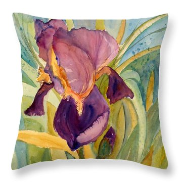 Iris Bloom Throw Pillow