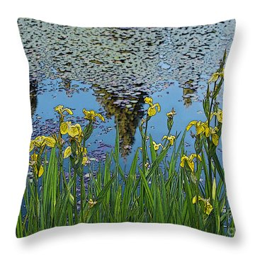 Iris By The Pond - Artistic Version Throw Pillow