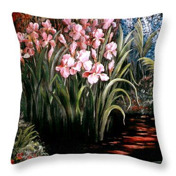 Iris By The Pond Throw Pillow