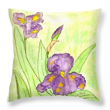Throw Pillow featuring the painting Iris Couple by Belinda Landtroop