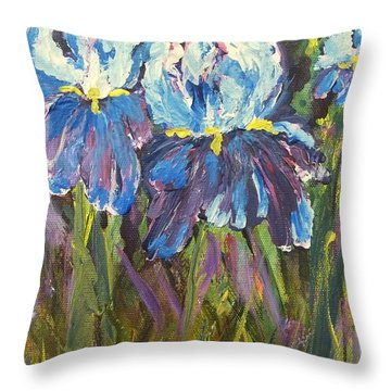Iris Floral Garden Throw Pillow by Claire Bull
