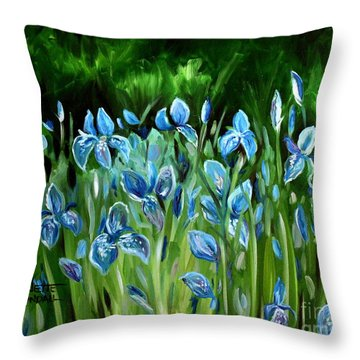 Throw Pillow featuring the painting Iris Galore by Elizabeth Robinette Tyndall