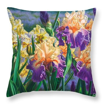 Iris Garden 1 Throw Pillow