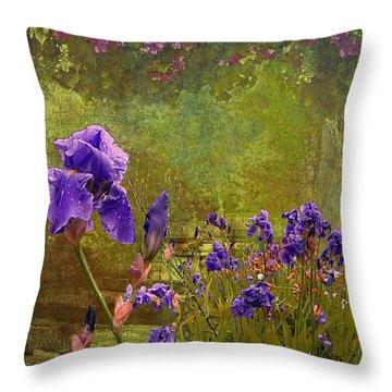 Iris Garden Throw Pillow by Jeff Burgess