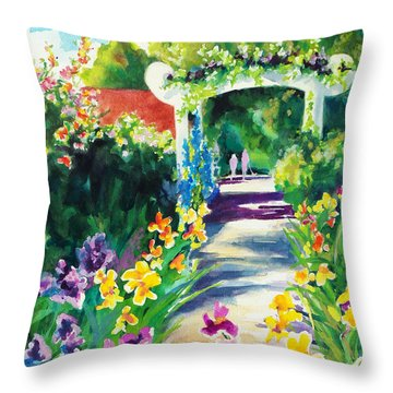Throw Pillow featuring the painting Iris Garden Walkway   by Kathy Braud