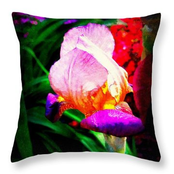 Iris Glow Throw Pillow by Janine Riley