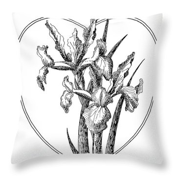 Iris Heart Drawing 3 Throw Pillow