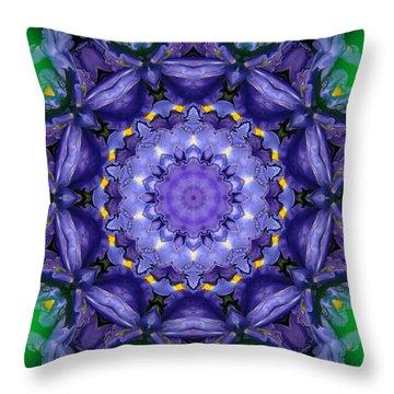 Throw Pillow featuring the mixed media Iris Kaleidoscope by Roxy Riou
