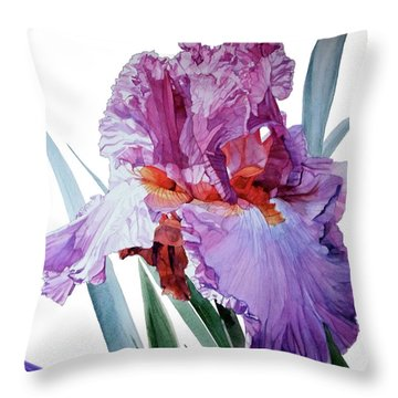 Watercolor Of A Tall Bearded Iris In Pink, Lilac And Red I Call Iris Pavarotti Throw Pillow