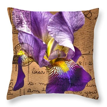 Iris On Vintage 1912 Postcard Throw Pillow