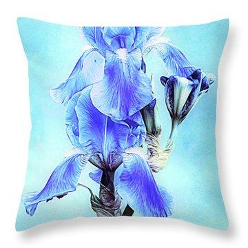 Iris Pair In Blue Throw Pillow