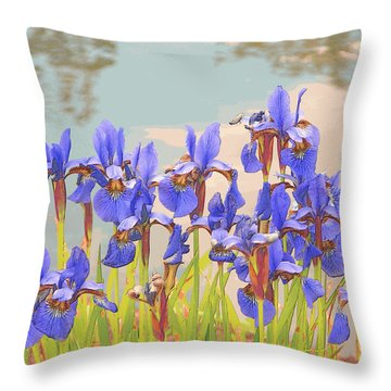 Iris Pondside 39m Throw Pillow
