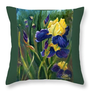 Throw Pillow featuring the painting Iris by Renate Nadi Wesley