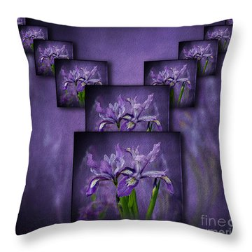 Throw Pillow featuring the photograph Iris Stack by Shirley Mangini