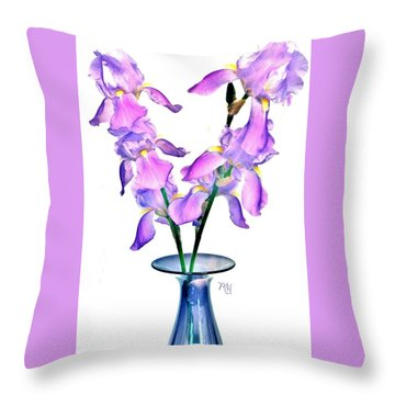 Iris Still Life In A Vase Throw Pillow by Marsha Heiken