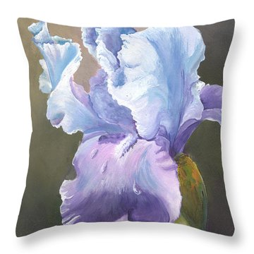 Throw Pillow featuring the painting Iris Tears by Sherry Shipley