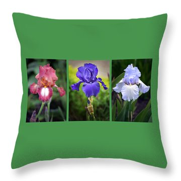 Iris Triptych. Throw Pillow
