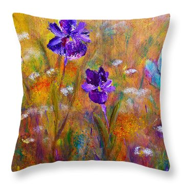 Throw Pillow featuring the painting Iris Wildflowers And Butterfly by Claire Bull