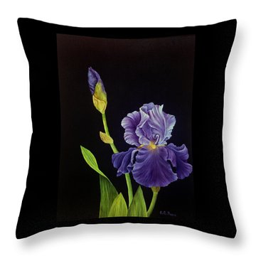 Iris With Purple Ruffles Throw Pillow