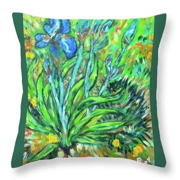 Irises Ala Van Gogh Throw Pillow by Carolyn Donnell