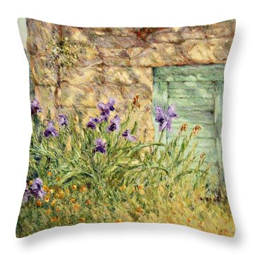 Irises At The Old Barn Throw Pillow