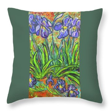 Irises In A Sunny Garden Throw Pillow by Carolyn Donnell