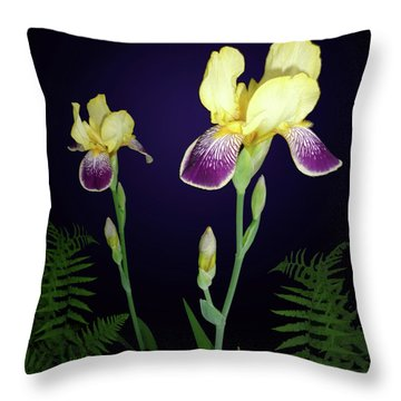 Irises In The Night Garden Throw Pillow by Tara Hutton