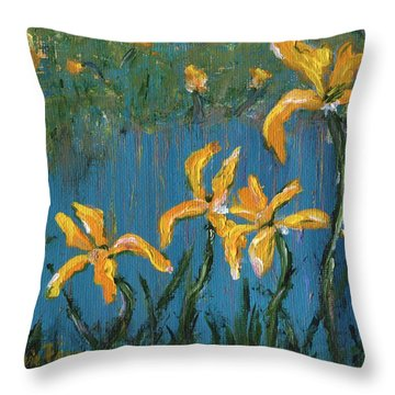 Throw Pillow featuring the painting Irises by Jamie Frier