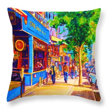 Throw Pillow featuring the painting Irish Pub On Crescent Street by Carole Spandau