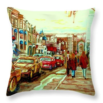 Irish Pubs And Bistros Downtown Montreal Throw Pillow by Carole Spandau