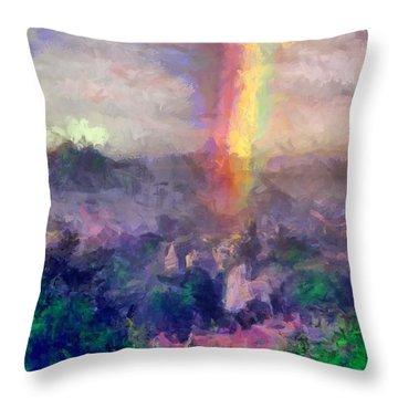Irish Rainbow Throw Pillow