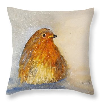 Throw Pillow featuring the painting Irish Robin In The Snow by Kathleen Pio