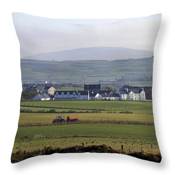 Irish Sheep Farm II Throw Pillow by Henri Irizarri