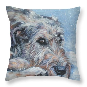 Irish Wolfhound Resting Throw Pillow by Lee Ann Shepard