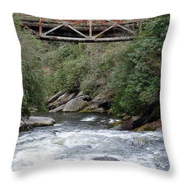 Iron Bridge Over Chattooga River Throw Pillow by Bruce Gourley