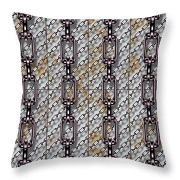 Iron Chains With Metal Panels Seamless Texture Throw Pillow