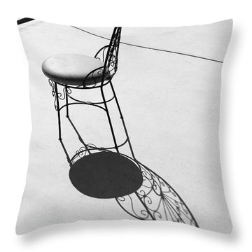 Iron Chair And Its Butterfly Shadow Throw Pillow