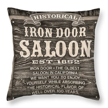 Throw Pillow featuring the photograph Iron Door Saloon 1852 by David Millenheft