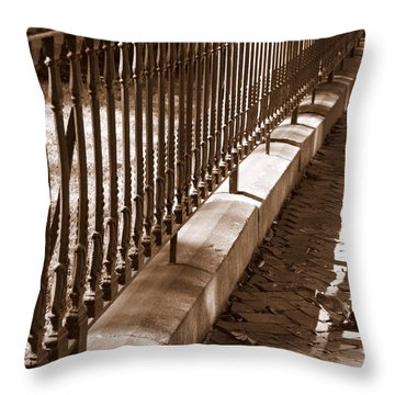 Iron Fence With Shadows Throw Pillow