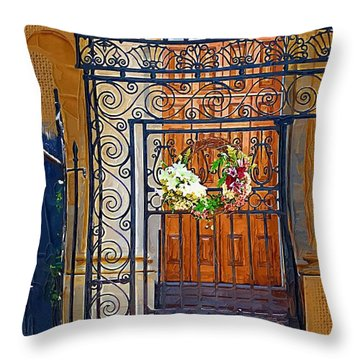 Throw Pillow featuring the photograph Iron Gate by Donna Bentley
