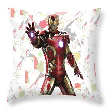 Throw Pillow featuring the mixed media Iron Man Splash Super Hero Series by Movie Poster Prints