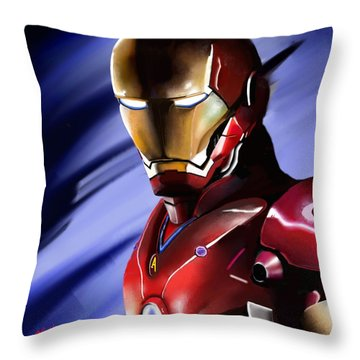 Iron Man's Glance. Throw Pillow