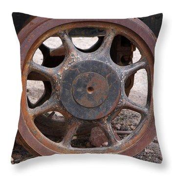 Iron Train Wheel Throw Pillow by Aidan Moran
